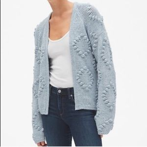 GAP Bauble Ball Knit Open Cardigan Cozy Baby Blue